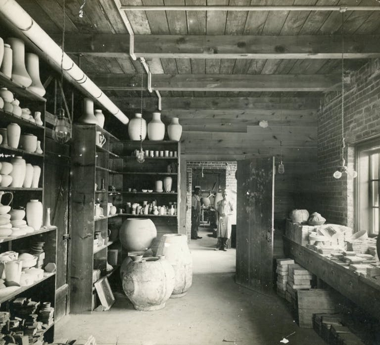 Vintage photo of pottery at Pewabic