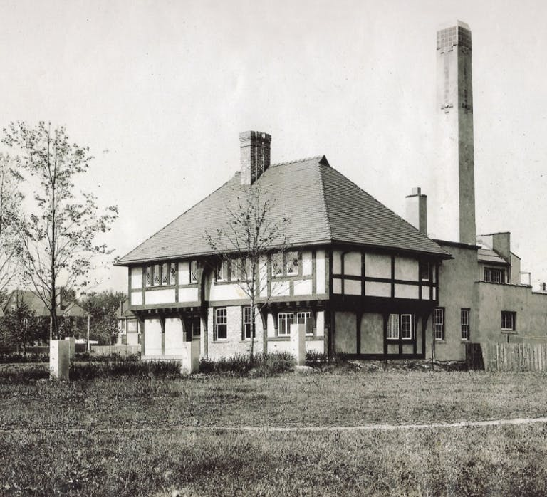 Vintage photo of exterior of Pewabic Pottery in its current location