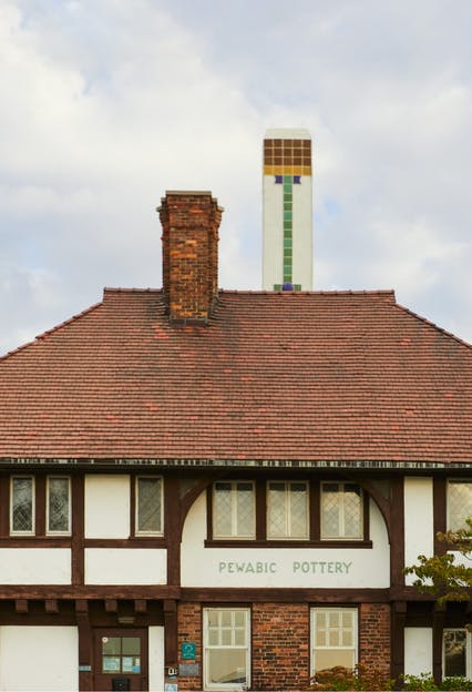 Exterior of Pewabic studio off Jefferson on the East Side of Detroit